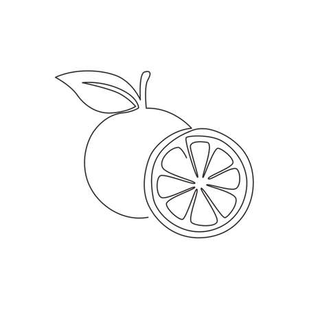 Single continuous line drawing of sliced and whole healthy organic orange for orchard  identity. Fresh summer fruitage concept for fruit juice icon. Modern one line draw design vector illustration 矢量图像