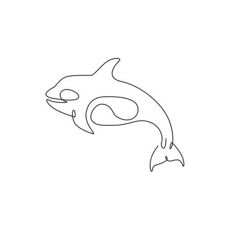 One single line drawing of big cute orca for company  identity. Orcinus whale mascot concept for national aquatic zoo icon. Modern continuous line draw design vector illustration