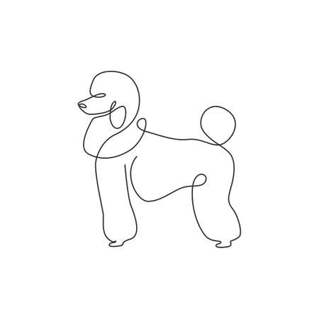 Single continuous line drawing of adorable poodle dog for company  identity. Purebred dog mascot concept for pedigree friendly pet icon. Modern one line draw design vector graphic illustration