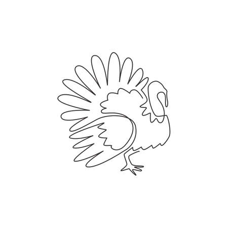 One continuous line drawing of large turkey for livestock  identity. Giant avian mascot concept for animal husbandry icon. Modern single line graphic draw design vector illustration 矢量图像