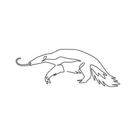 One single line drawing of big anteater for  identity. Worm tongue animal mascot concept for national park icon. Modern continuous line draw design vector illustration graphic