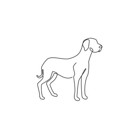 One continuous line drawing of dashing great dane dog for security company  identity. Purebred dog mascot concept for pedigree friendly pet icon. Modern single line draw design vector illustration 矢量图像