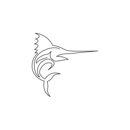 Single continuous line drawing of large marlin for marine company  identity. Jumping swordfish mascot concept for fishing tournament icon. One line draw graphic design vector illustration