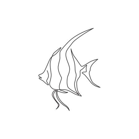 Single continuous line drawing of adorable freshwater angelfish for company  identity. Cute pterophyllum fish mascot concept for aquarium show icon. Modern one line draw design vector illustration