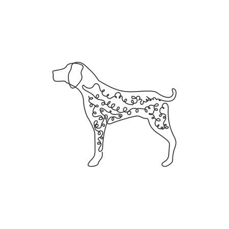 Single continuous line drawing of funny german shorthaired pointer for  identity. Purebred dog mascot concept for pedigree friendly pet icon. Modern one line draw design vector illustration