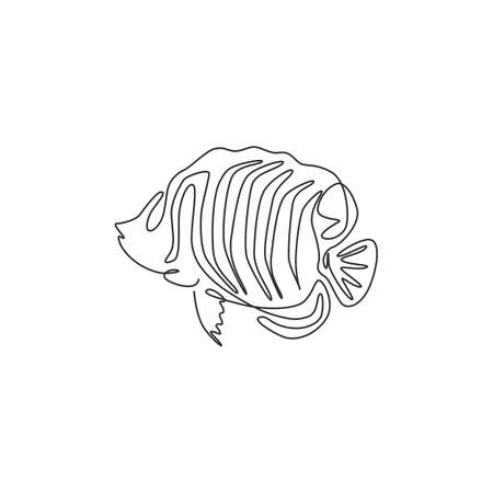 One continuous line drawing of cute regal angelfish for company  identity. Sea angel fish mascot concept for aquatic show icon. Modern single line draw design vector graphic illustration