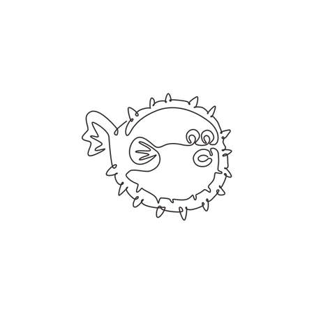 Single continuous line drawing of adorable pufferfish for marine  identity. Blow fish mascot concept for Chinese restaurant icon. Modern one line draw design vector illustration