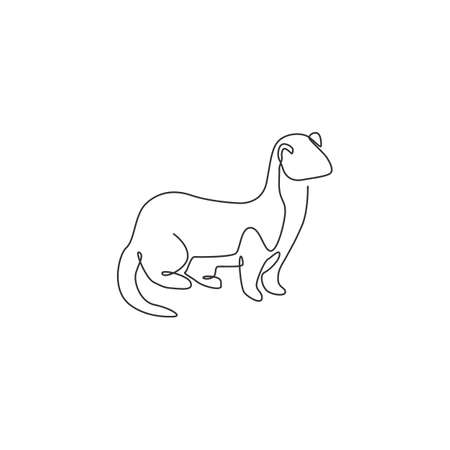 Single continuous line drawing of adorable weasel for company   identity. Little mammal predator mascot concept for national conservation park icon. Modern one line draw design vector illustration 矢量图像