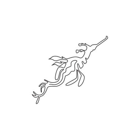 One single line drawing of beautiful leafy seadragon for company  identity. Sea monster mascot concept for aquarium tank show icon. Modern continuous line graphic draw design vector illustration