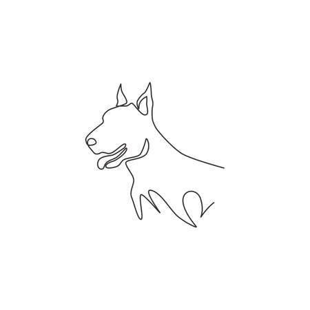 One continuous line drawing of fierce doberman dog for security company  identity. Purebred dog mascot concept for pedigree friendly pet icon. Modern single line draw design vector illustration