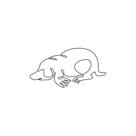 One continuous line drawing of cute lawn mole for company  identity. Rodent animal mascot concept for pest control service icon. Modern single line draw design vector graphic illustration
