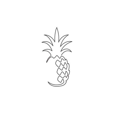 One continuous line drawing whole healthy organic pineapple for orchard  identity. Fresh summer fruitage concept for fruit garden icon. Modern single line draw design vector graphic illustration