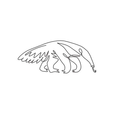 One continuous line drawing of giant anteater for  identity. Vermilingua mammal animal mascot concept for national zoo icon. Modern single line draw design graphic vector illustration