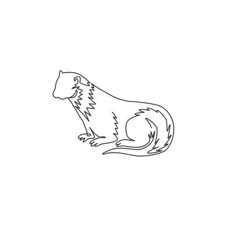 One single line drawing of adorable otter for company  identity. Rodent river animal mascot concept for national zoo icon. Modern continuous line draw design graphic vector illustration