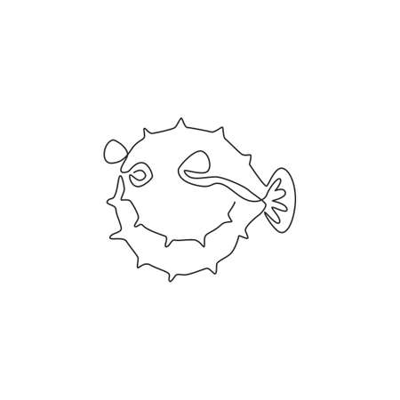 One single line drawing of beauty pufferfish for aquatic company  identity. Balloon fish mascot concept for sea world show icon. Modern continuous line draw design vector illustration