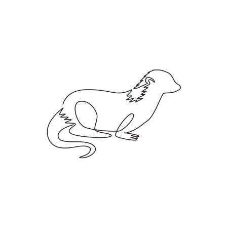 One single line drawing of funny otter for pet  identity. Weasel animal mascot concept for national conservation park icon. Modern continuous line draw design vector graphic illustration