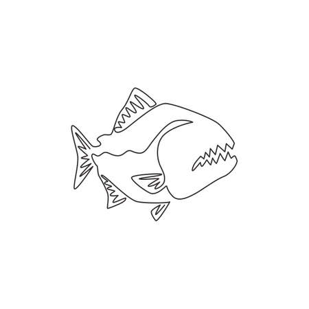One continuous line drawing of dangerous piranha for  identity. Monster fish mascot concept for dangerous river sign icon. Single line draw design vector graphic illustration