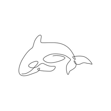 One continuous line drawing of cute orca for marine  identity. Killer whale mascot concept for sea world show icon. Modern single line draw design vector illustration 矢量图像