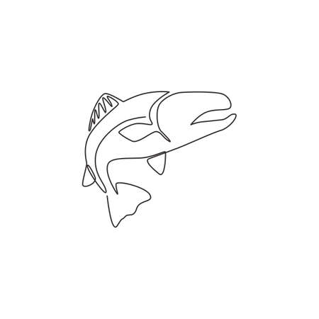 One continuous line drawing of big salmon for fishing  identity. Fish mascot concept for fast food can icon. Single line draw design vector illustration graphic
