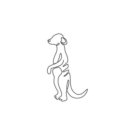 One single line drawing of funny meerkat for company  identity. Little carnivore monkey mascot concept for national safari park icon. Modern continuous line draw design vector graphic illustration Illustration
