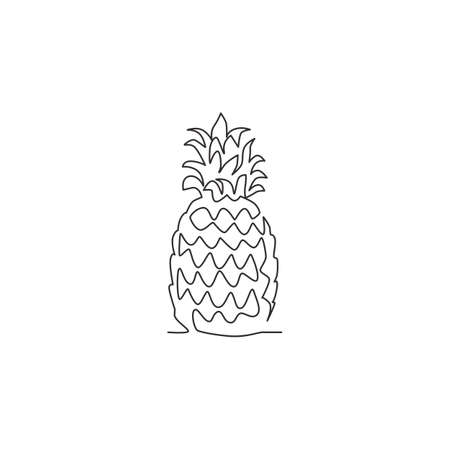 One continuous line drawing whole healthy organic pineapple for orchard  identity. Fresh summer fruitage concept for fruit garden icon. Modern single line draw design graphic vector illustration