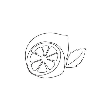Single continuous line drawing of whole and sliced healthy organic lemon for orchard  identity. Fresh zest fruitage concept for fruit garden icon. Modern one line draw design vector illustration 矢量图像