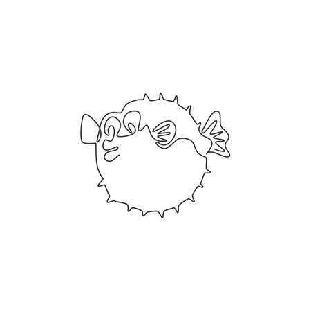 One continuous line drawing of cute pufferfish for aquatic  identity. Balloon fish mascot concept for fresh seafood icon. Modern single line draw design vector illustration 矢量图像