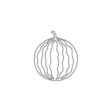 Single continuous line drawing of whole healthy organic watermelon for orchard  identity. Fresh fruitage concept for fruit garden icon. Modern one line graphic draw design vector illustration