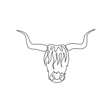 Single one line drawing of manly yak head for company identity. Cow farm mammal mascot concept for national zoo icon. Modern continuous line draw design vector graphic illustration Vecteurs