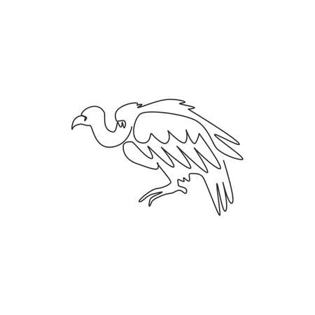 Single continuous line drawing of mystery vulture for foundation  identity. Griffon bird mascot concept for national zoo icon. Modern one line draw design vector illustration 矢量图像
