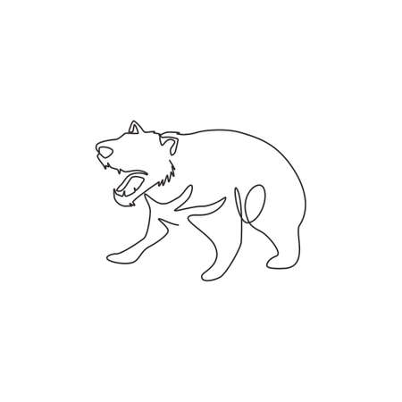 Single one line drawing of furious tasmanian devil for organisation  identity. Tasmanian island mascot concept for tourist attractor icon. Modern continuous line draw design vector illustration 矢量图像