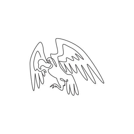 One continuous line drawing of scary vulture for foundation  identity. Big bird mascot concept for bird conservation icon. Modern single line draw design graphic vector illustration