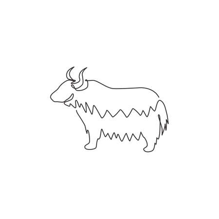 One continuous line drawing of dashing yak for company  identity. Ox mammal mascot concept for livestock icon. Modern single line draw graphic design vector illustration