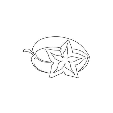One single line drawing of whole healthy organic for starfruits orchard logo identity. Fresh star fruit concept for garden icon. Modern continuous line draw design vector graphic illustration