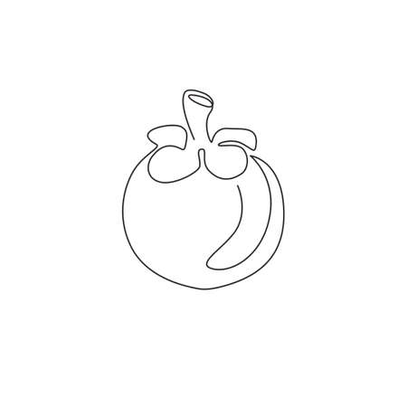 Single continuous line drawing whole round healthy organic mangosteen for orchard logo identity. Fresh fruitage concept for fruit garden icon. Modern one line draw design vector graphic illustration