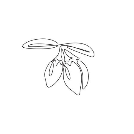 One single line drawing of pile healthy organic goji berries for orchard logo identity. Fresh gojiberry fruitage concept for fruit garden icon. Modern continuous line draw design vector illustration