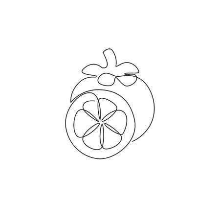 One continuous line drawing of whole and half cut healthy organic mangosteen for orchard logo identity. Fresh fruitage concept for fruit garden icon. Modern single line draw design vector illustration Stock Illustratie