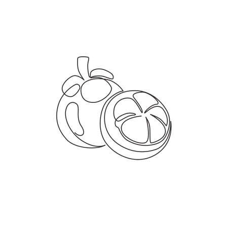 One single line drawing whole and half sliced healthy organic mangosteen for orchard logo identity. Fresh concept for fruit garden icon. Modern continuous line draw design graphic vector illustration