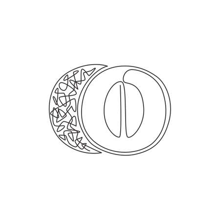 Single continuous line drawing of whole and half sliced healthy organic melon for orchard logo identity. Fresh fruitage concept for fruit garden icon. Modern one line draw design vector illustration Stock Illustratie