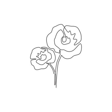 Single continuous line drawing beauty fresh herbaceous plant for garden logo. Printable decorative poppy flower concept for home decor wall art poster. Modern one line draw design vector illustration