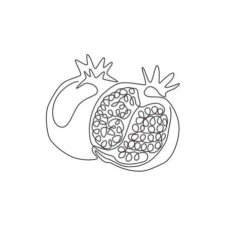 Single continuous line drawing of whole and half sliced healthy organic pomegranate for orchard logo identity. Fresh seed concept for fruit garden icon. Modern one line draw design vector illustration