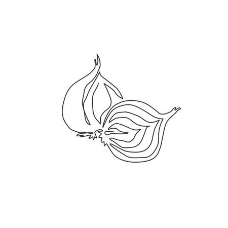One single line drawing whole and sliced healthy organic bulb onion for farm logo identity. Fresh common onion concept vegetable icon. Modern continuous line draw design vector graphic illustration 向量圖像