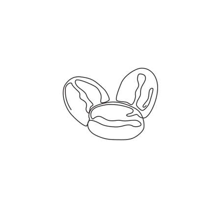One continuous line drawing whole healthy organic coffee bean for restaurant logo identity. Fresh aromatic seed concept for coffee shop icon. Modern single line draw design graphic vector illustration