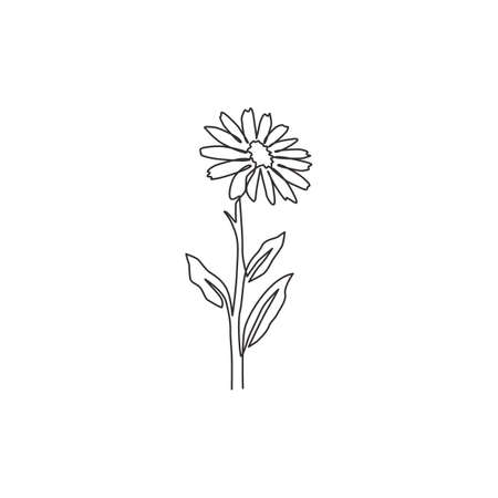 One single line drawing of beauty fresh calendula for home wall decor poster. Printable decorative marigold flower for greeting card ornament. Modern continuous line draw design vector illustration