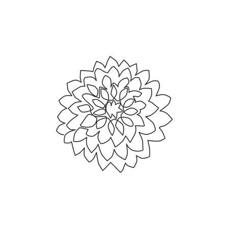 Single continuous line drawing of beauty fresh dahlia for garden logo. Printable decorative national Mexico flower concept for home decor wall poster. Modern one line draw design vector illustration