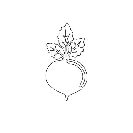 One continuous line drawing whole healthy organic beetroot for plantation logo identity. Fresh garden beet plant concept for vegetable icon. Modern single line draw design vector graphic illustration Logo