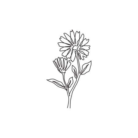 One continuous line drawing of beauty fresh calendula for garden logo. Printable decorative marigold flower concept for home wall decor poster art. Modern single line draw design vector illustration