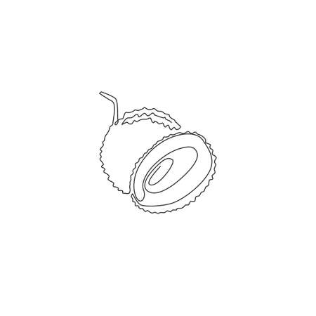 Single continuous line drawing of whole healthy organic lychee for orchard logo identity. Fresh summer fruitage concept for fruit garden icon. Modern one line draw design vector graphic illustration