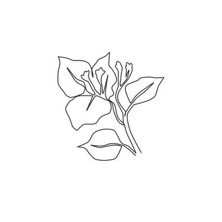 One continuous line drawing of beauty fresh bougainville for home wall decor art poster. Printable decorative thorn bush flower for wedding invitation card. Single line draw design vector illustration