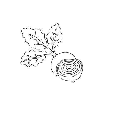 One single line drawing whole and half sliced healthy organic beetroot for farm logo identity. Fresh table beet concept vegetable icon. Modern continuous line draw design graphic vector illustration Logo